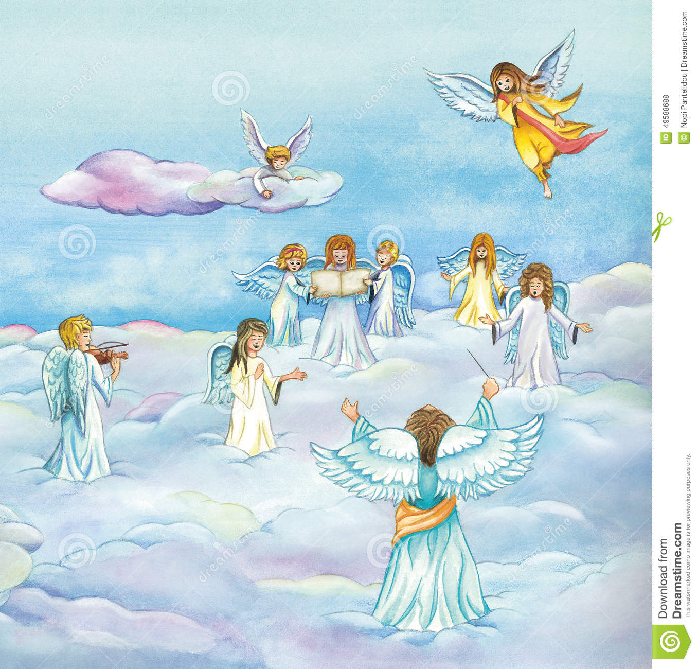 Heavenly Angels Choir Singing In Heaven Stock Illustration