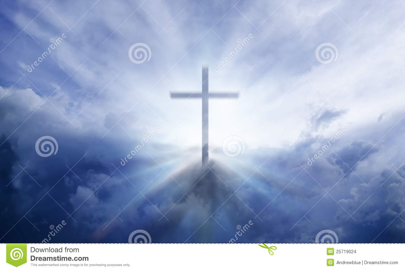transparent Cross giving out heavenly light in the sky.