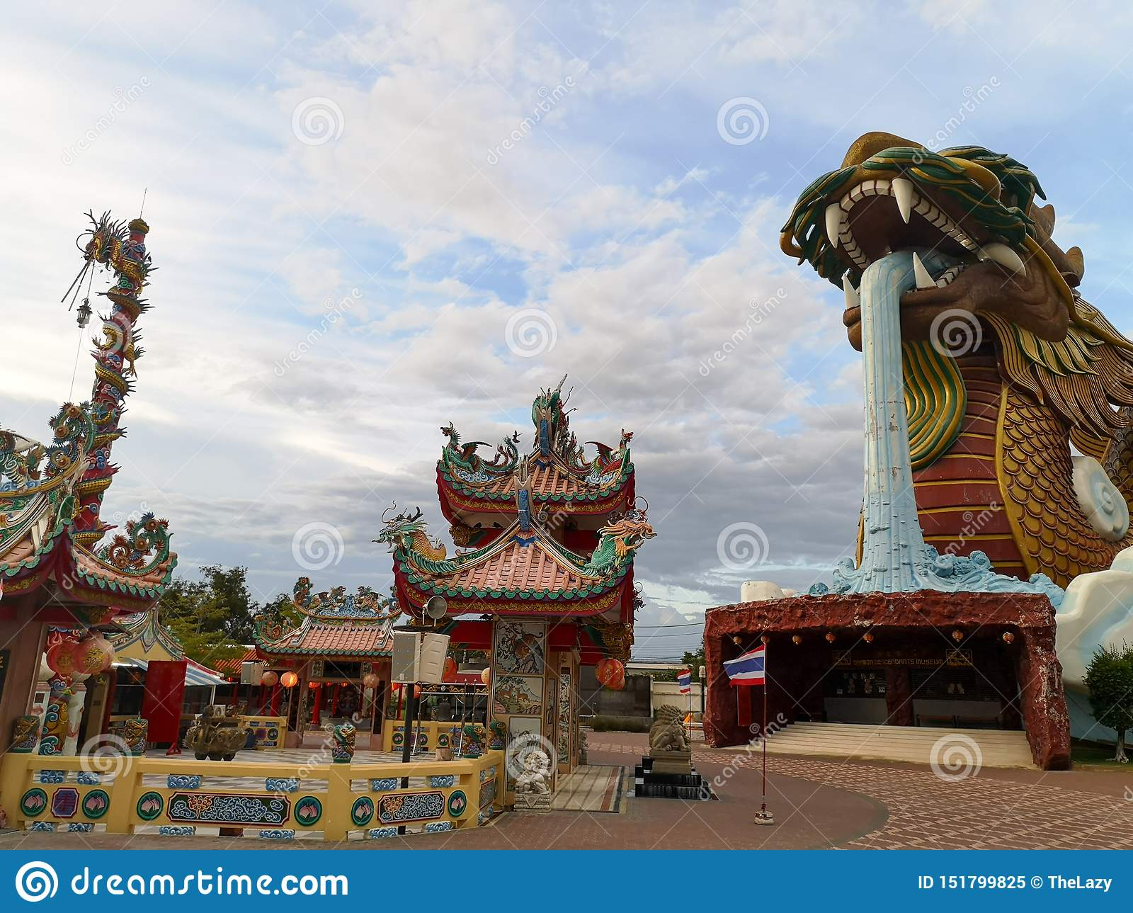 Heavenly Dragon and the main city shrine in Suphan Buri when the sky is bright.Heavenly Dragon and the main city shrine in Suphan