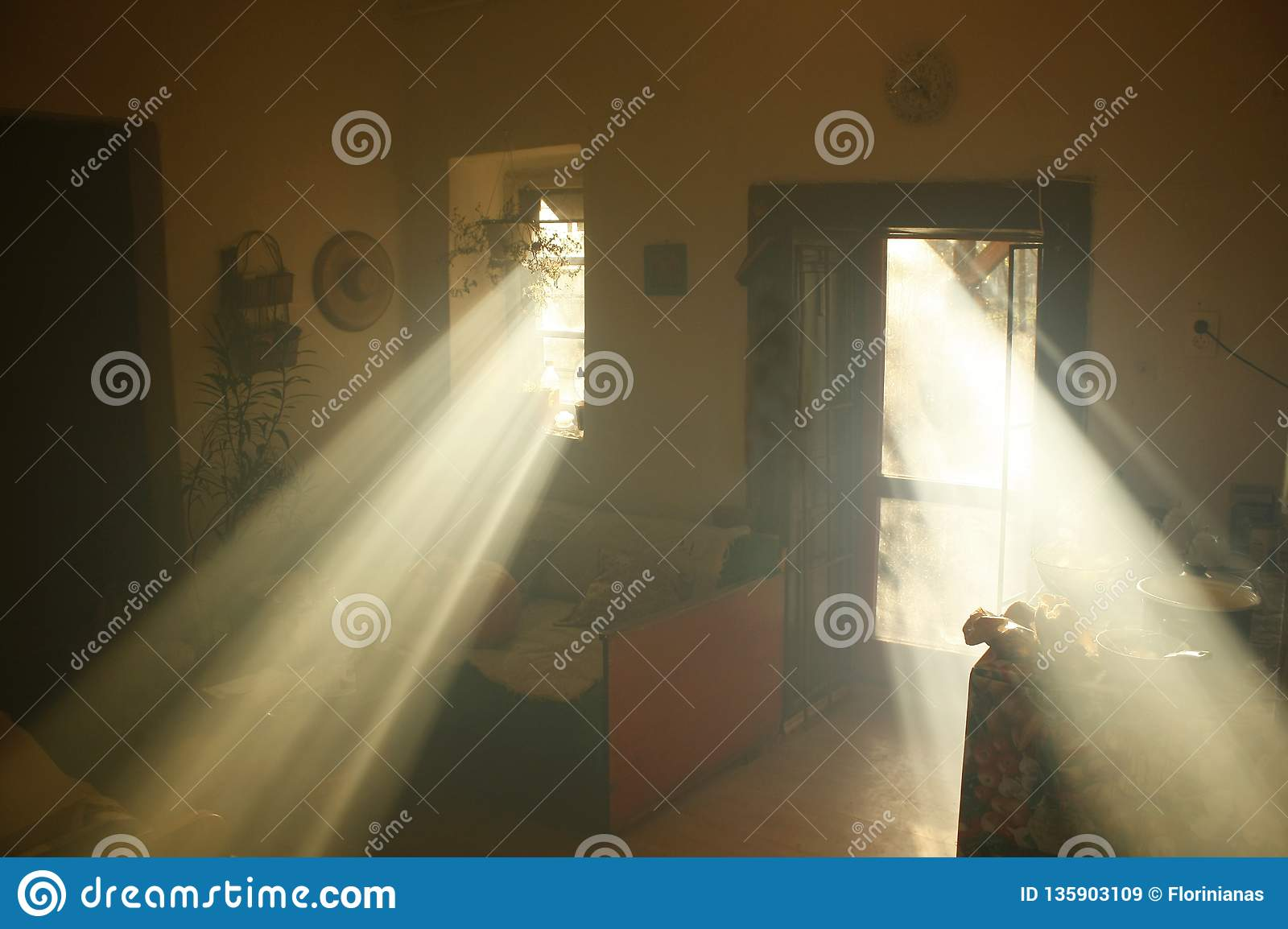 Heavenly light in a dusky old house.