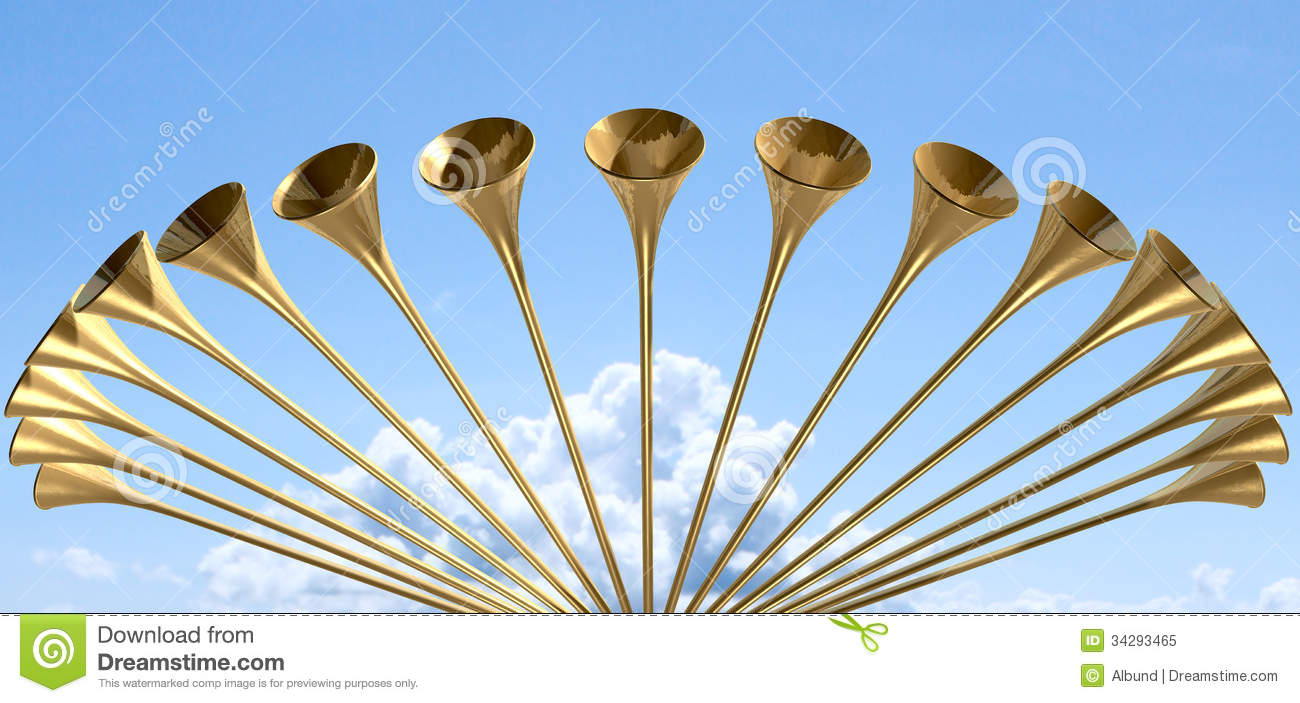 Heavenly Medieval Trumpet Circle And Sky Royalty Free Stock Photo ...