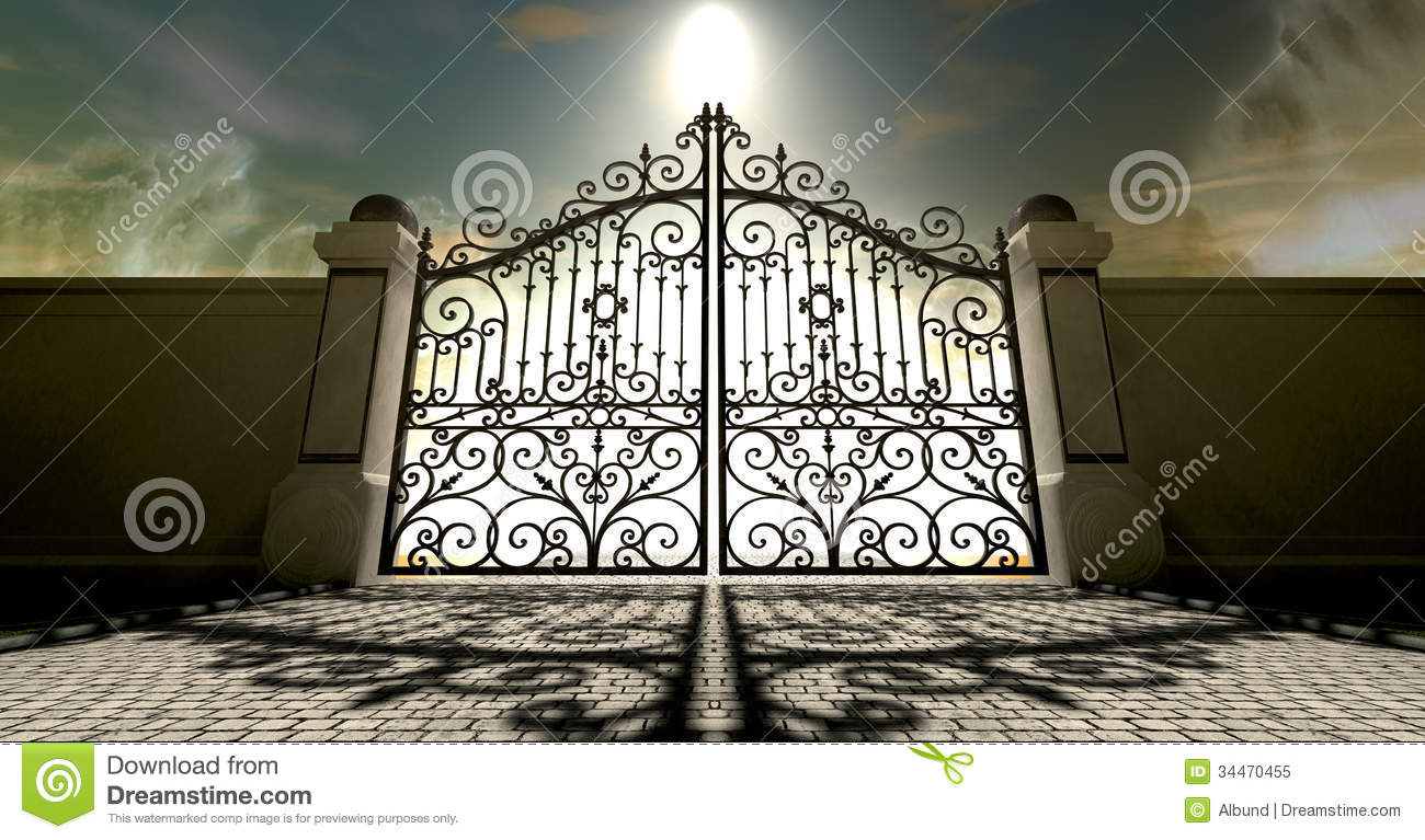 Heavens Closed Ornate Gates Stock Illustration