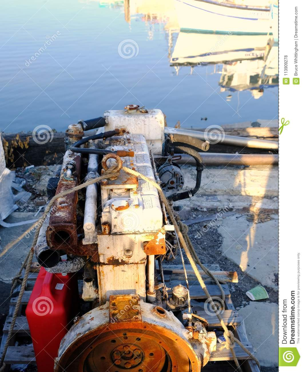 Corroded Old Lister Diesel Boat Engine In ShipYard Editorial