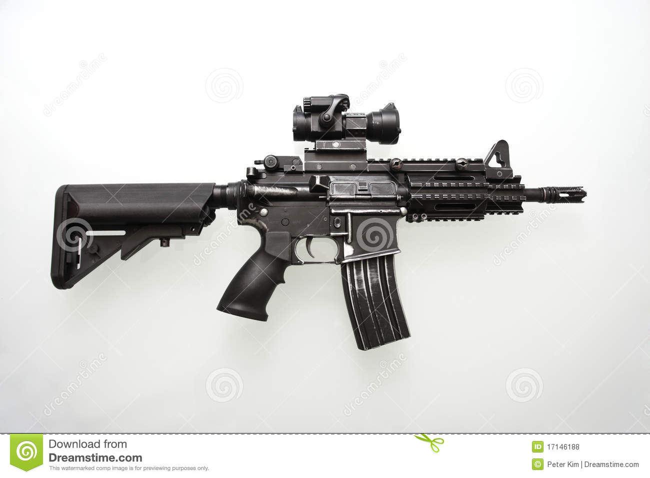 Heavily Used Military M16 Rifle Stock Photo - Image of scratch, clip