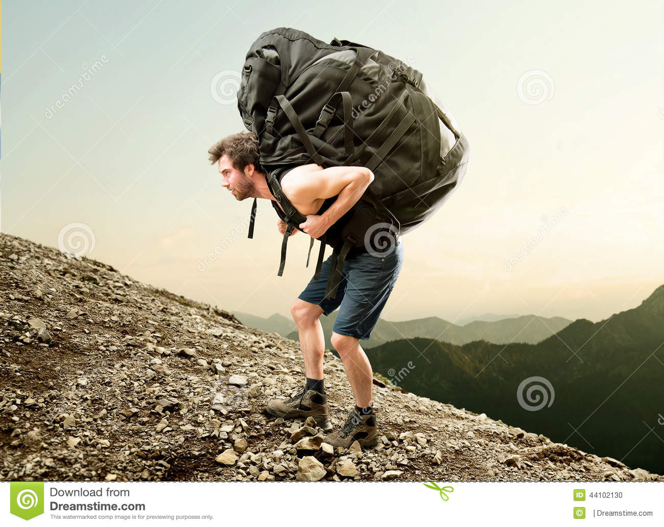 stock photo heavy backpack image 44102130 backpack clipart outline backpacking clip art