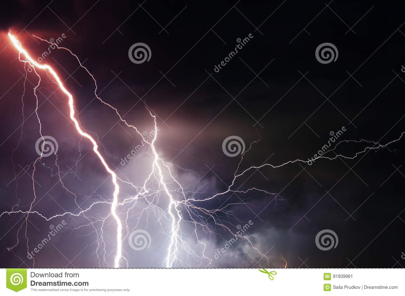 Heavy clouds bringing thunder, lightnings and storm
