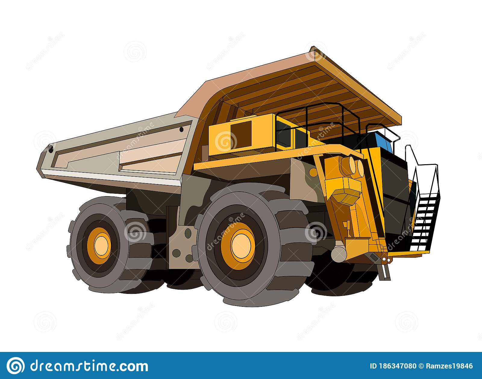 Heavy Construction Equipment Dump Mining Truck In Yellow Black. Industrial  Machinery And Equipment. Isolated Vector On White Stock Vector -  Illustration of dirt, dozer: 186347080
