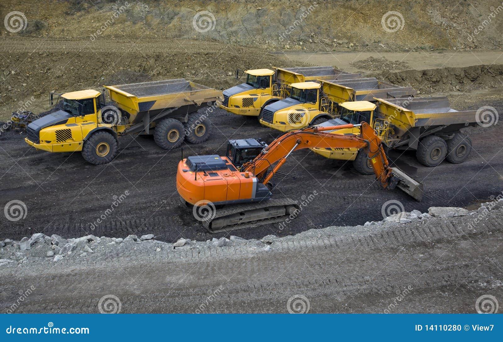 Heavy construction vehicles stock photo image