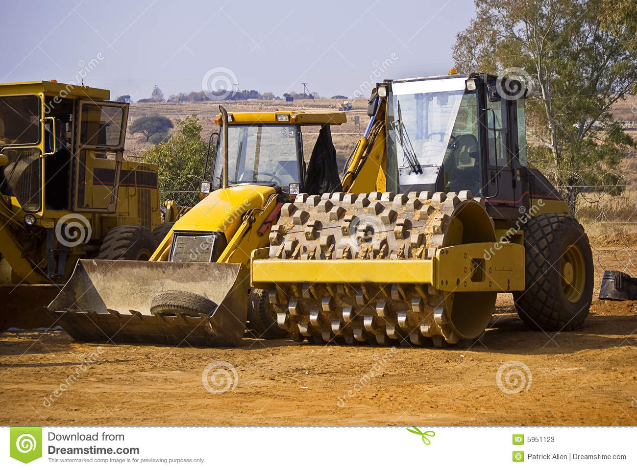 Heavy Duty Construction Equipment in the yard over the weekend, having ...