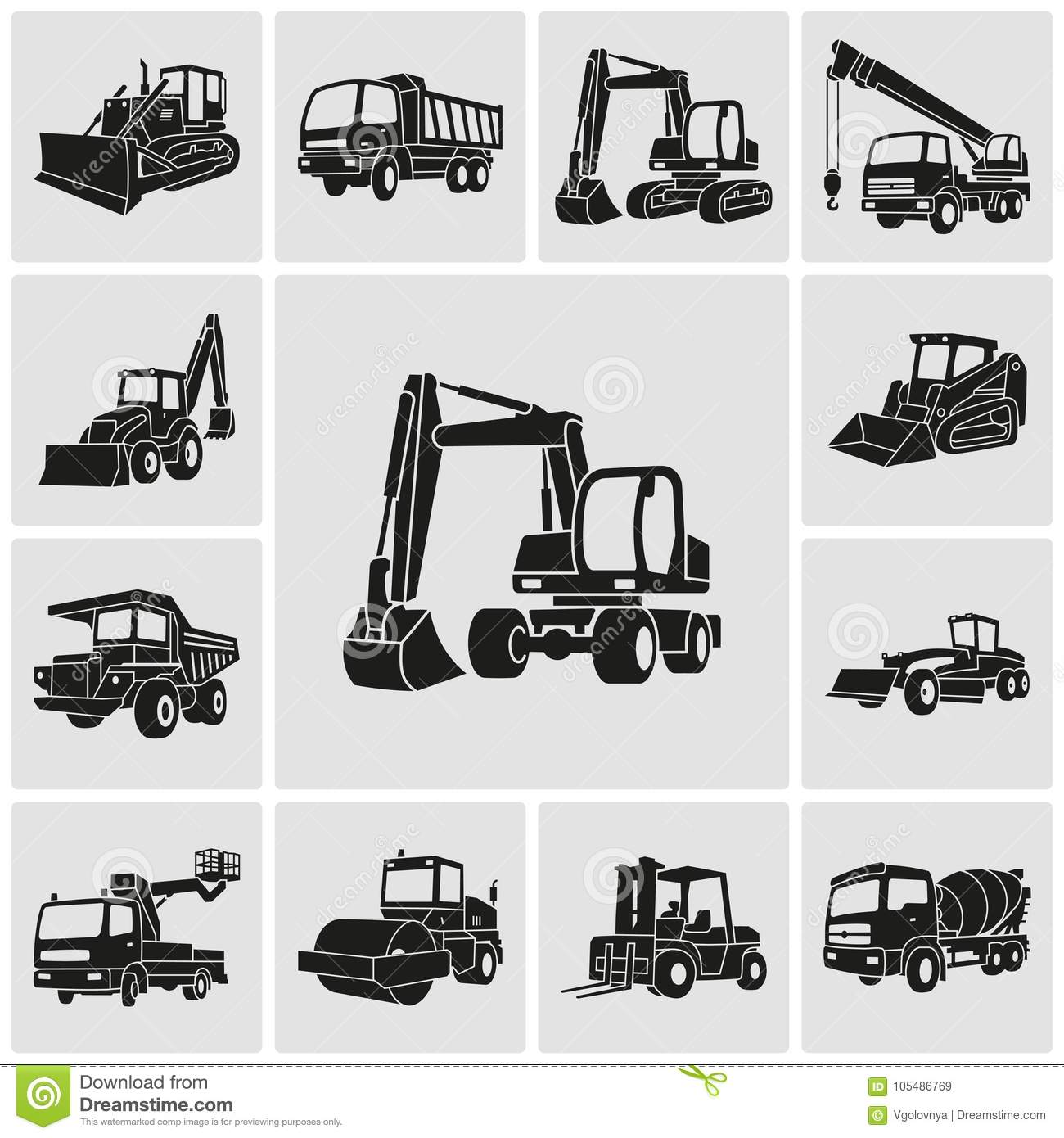 Heavy Equipment And Machinery Icons Set Stock Vector Illustration