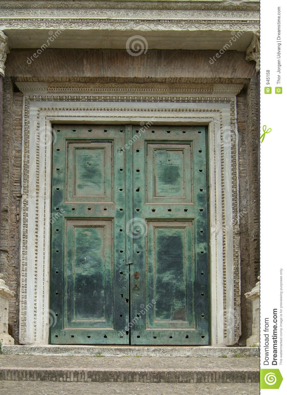 Royalty-Free Stock Photo & Heavy green door in Rome stock photo. Image of entrance - 945158