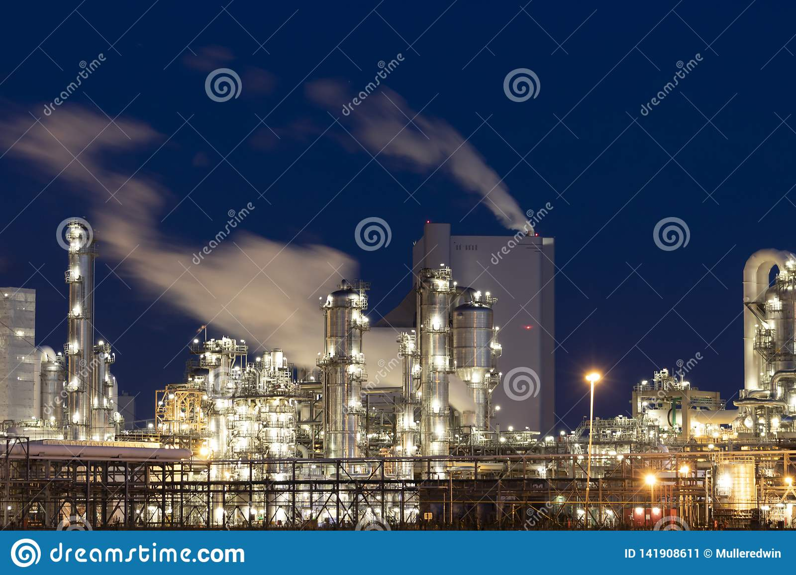 Heavy industry factory at night