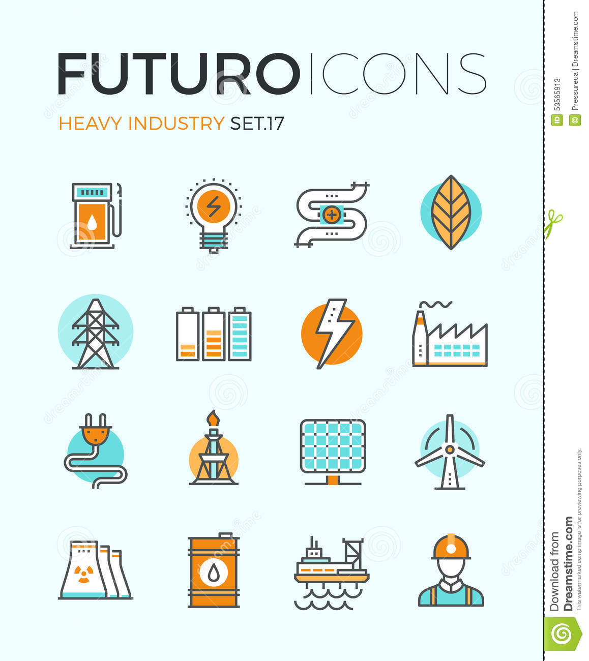 Heavy industry futuro line icons