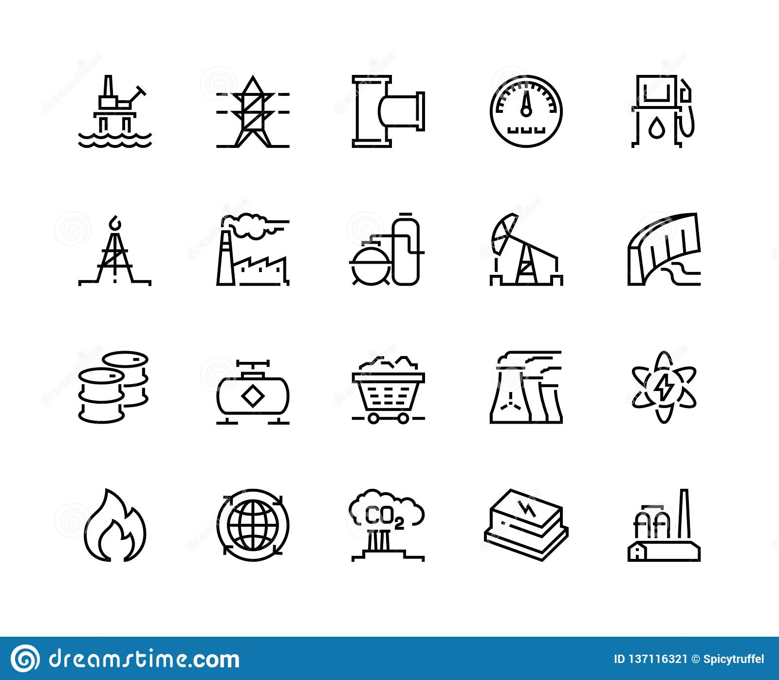 Heavy industry line icons. Oil gas production nuclear electric station fuel refinery barrel. Power storage industrial