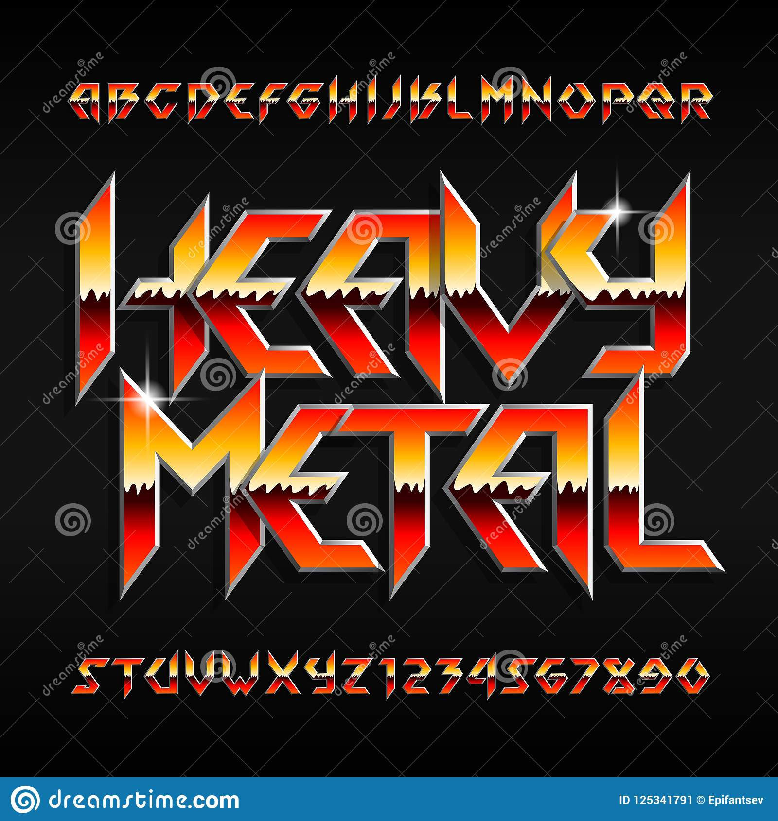 Heavy Metal Alphabet Font Shiny Letters And Numbers In Hard Rock