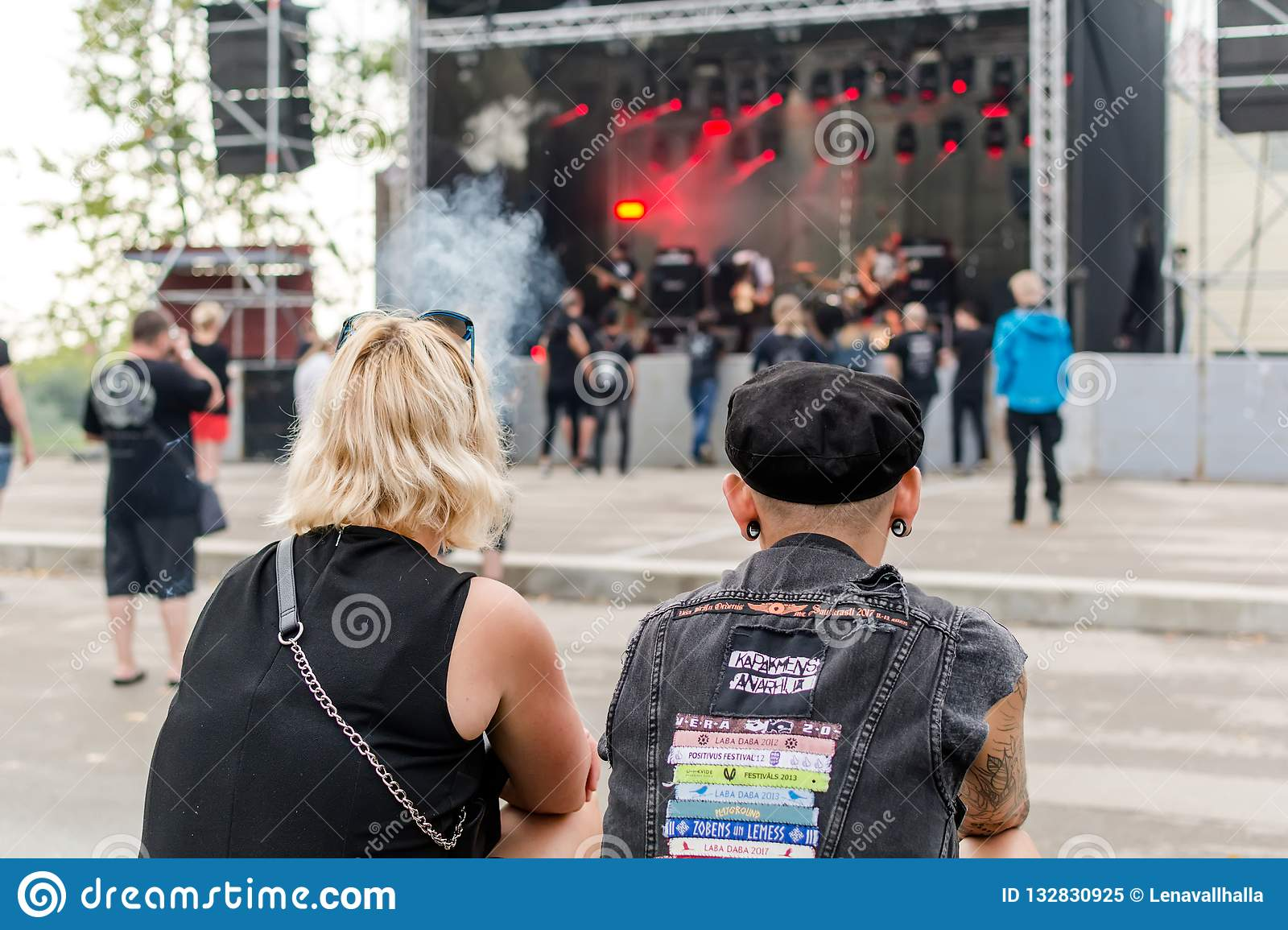 Heavy metal fans looking at stage at Metalshow Open Air festival in Latvi