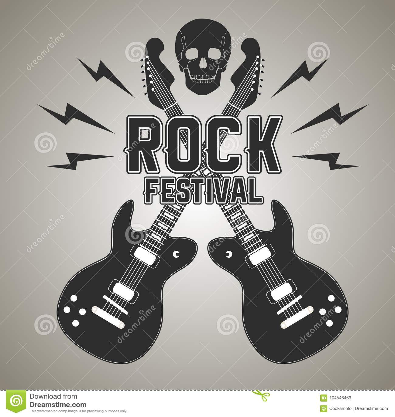 Heavy Metal Or Rock Poster With Guitar And Skull Stock Vector