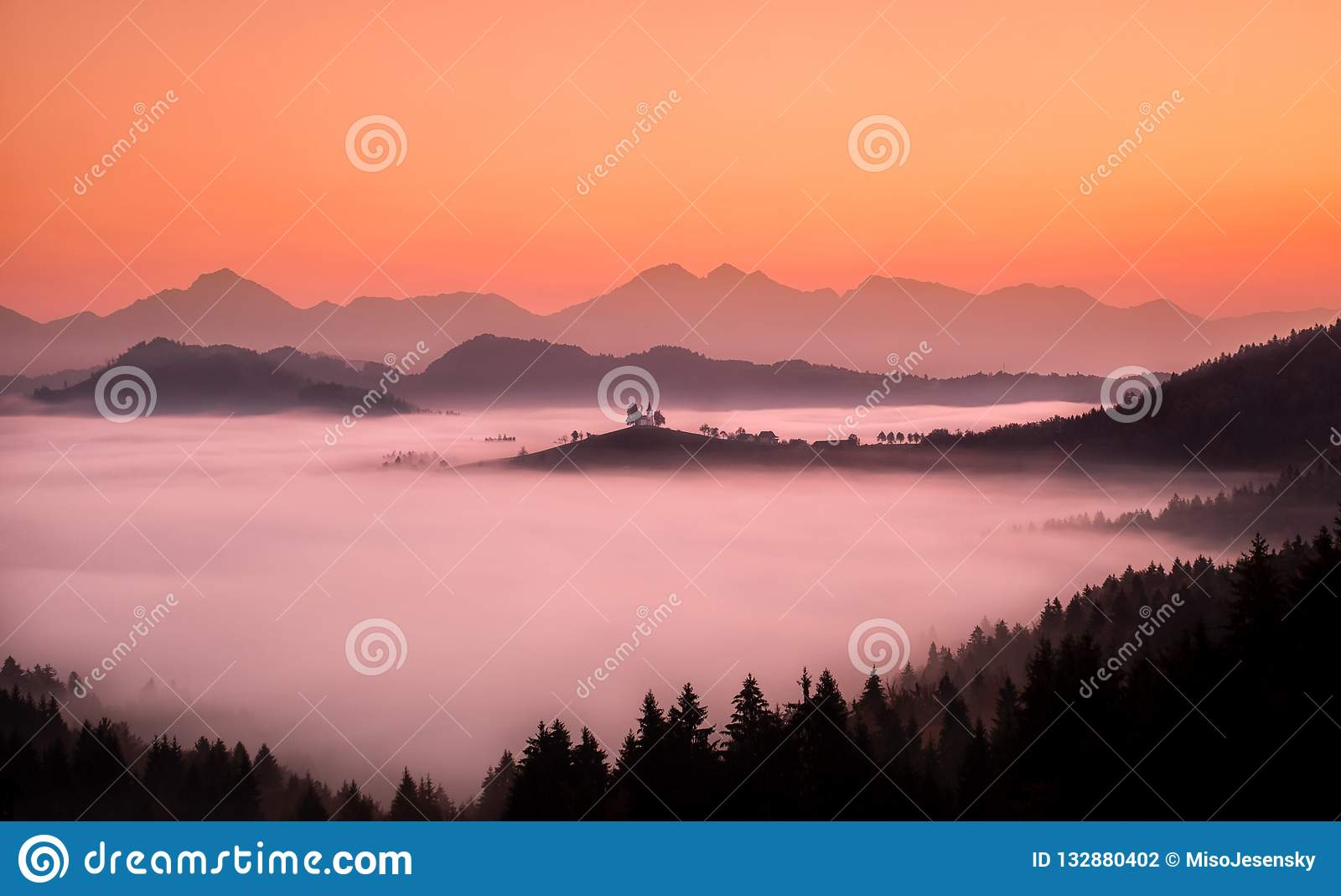 Sveti Tomaz - St. Tomas Slovenia Stock Photo - Image of mist colors: 132880402