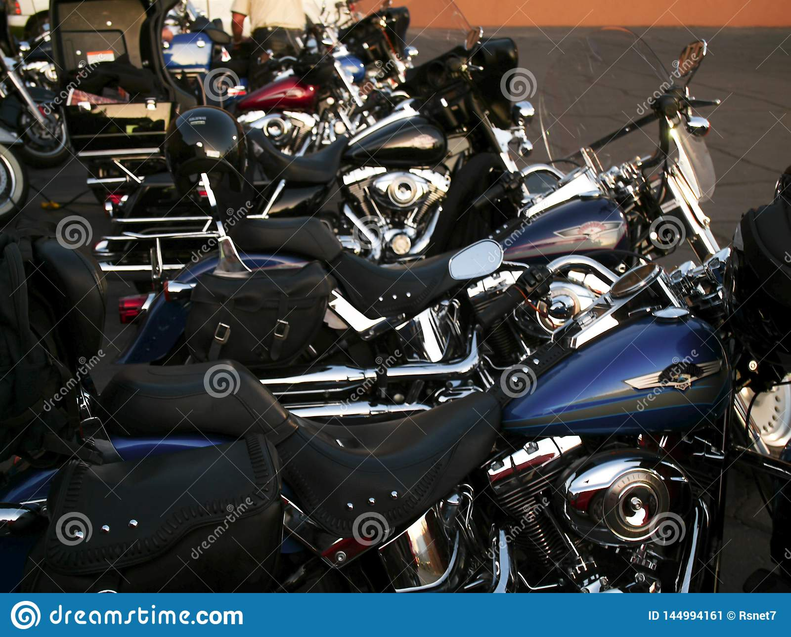 Heavy motorcycles are lined up