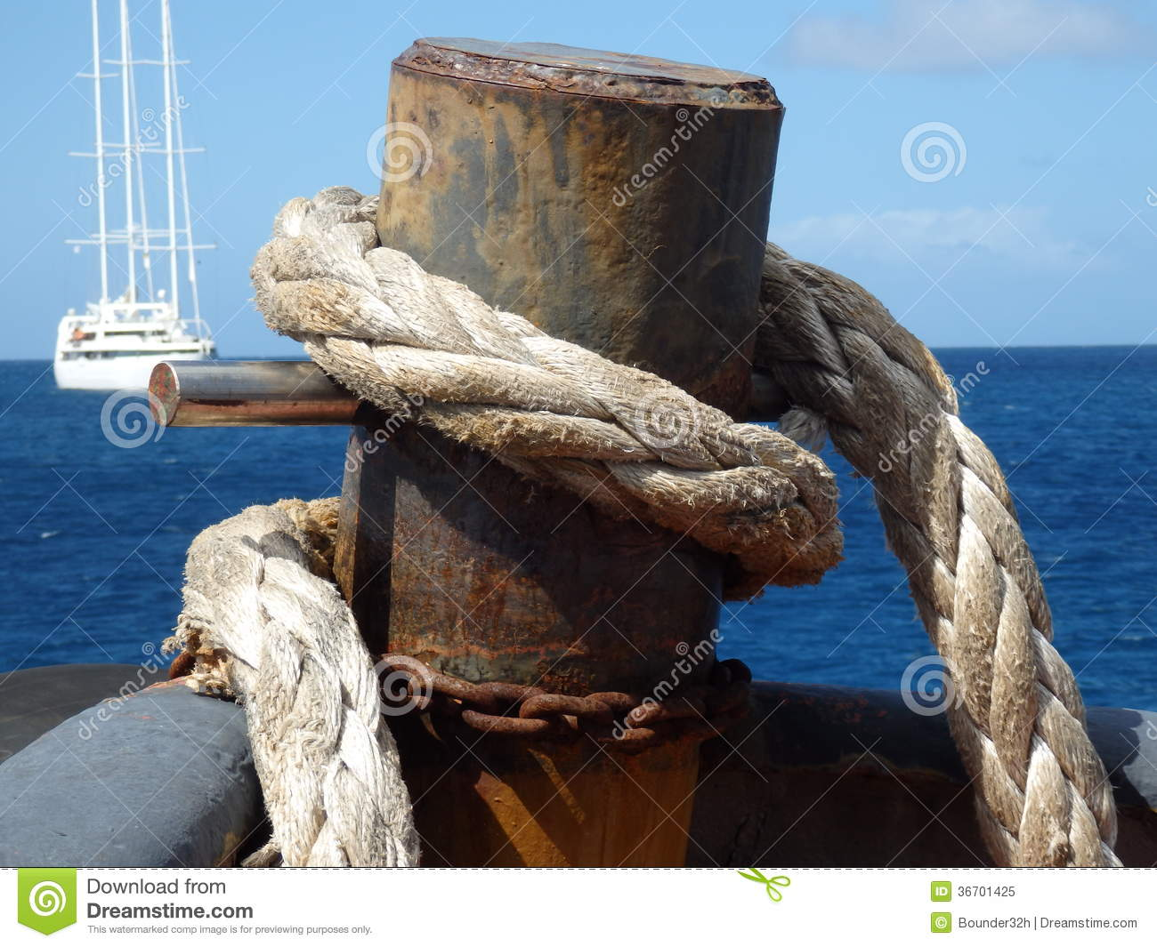 Heavy nautical rope on a tug boat royalty free stock for Heavy rope for nautical use