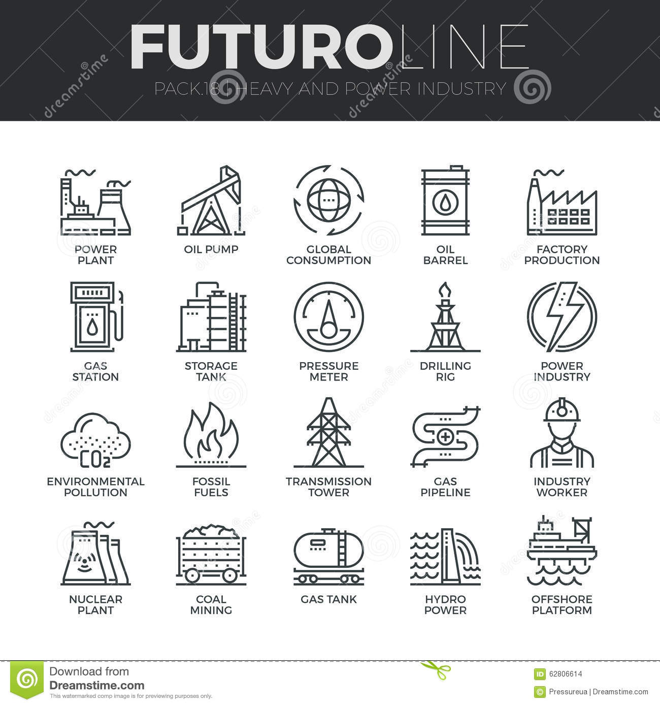 Heavy And Power Industry Futuro Line Icons Set Stock Vector ...