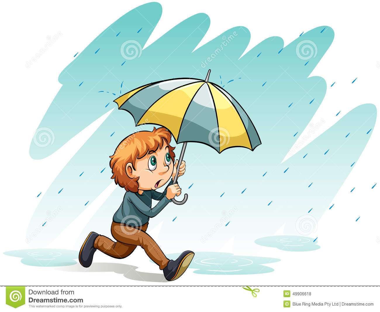 Stock Illustration Heavy Rain Idiom Showing White Background Image49906618 on man opening door
