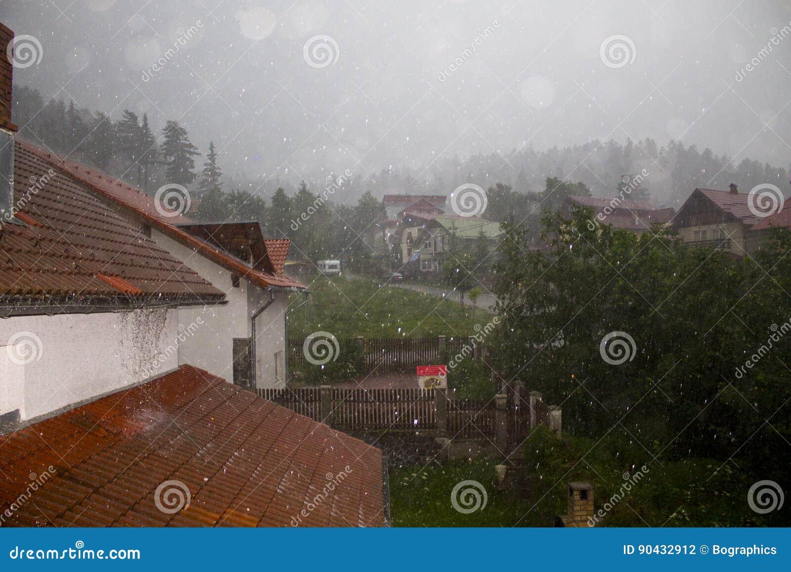 Heavy rain over village