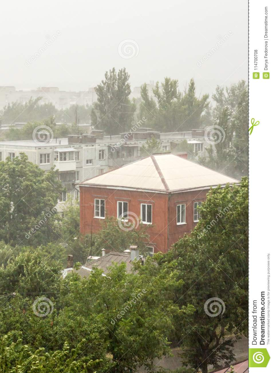 Heavy Rain Trees Wire And Residential House In The Village Stock Wiring A Download Photo