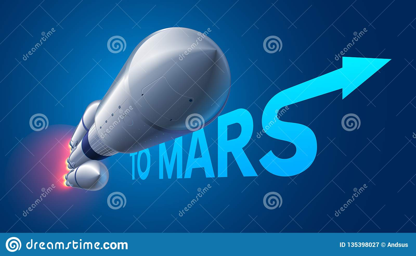 Heavy space rocket launch to Mars. Mission to Mars