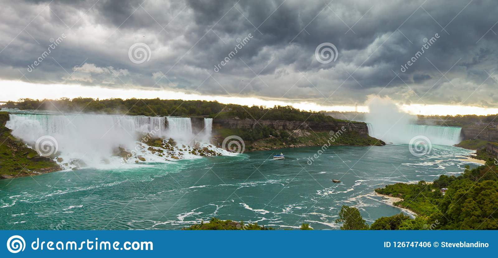 Heavy storm over Niagara falls