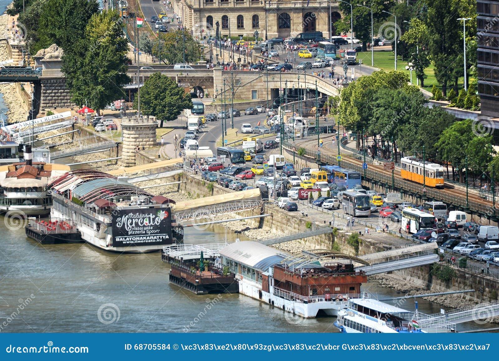 Heavy Traffic At Danube Riverside, Budapest, Hungary