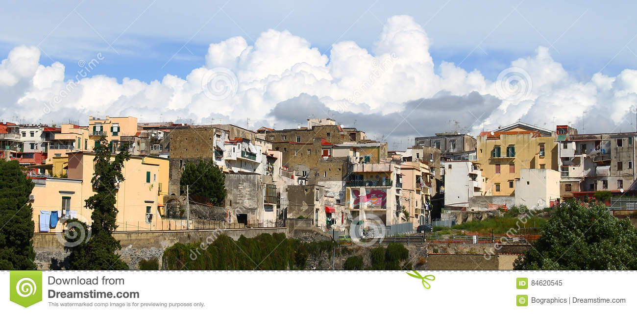 Download Heavy White Clouds Rising Above Old Town Buildings Stock Image - Image of above, ercolano: 84620545