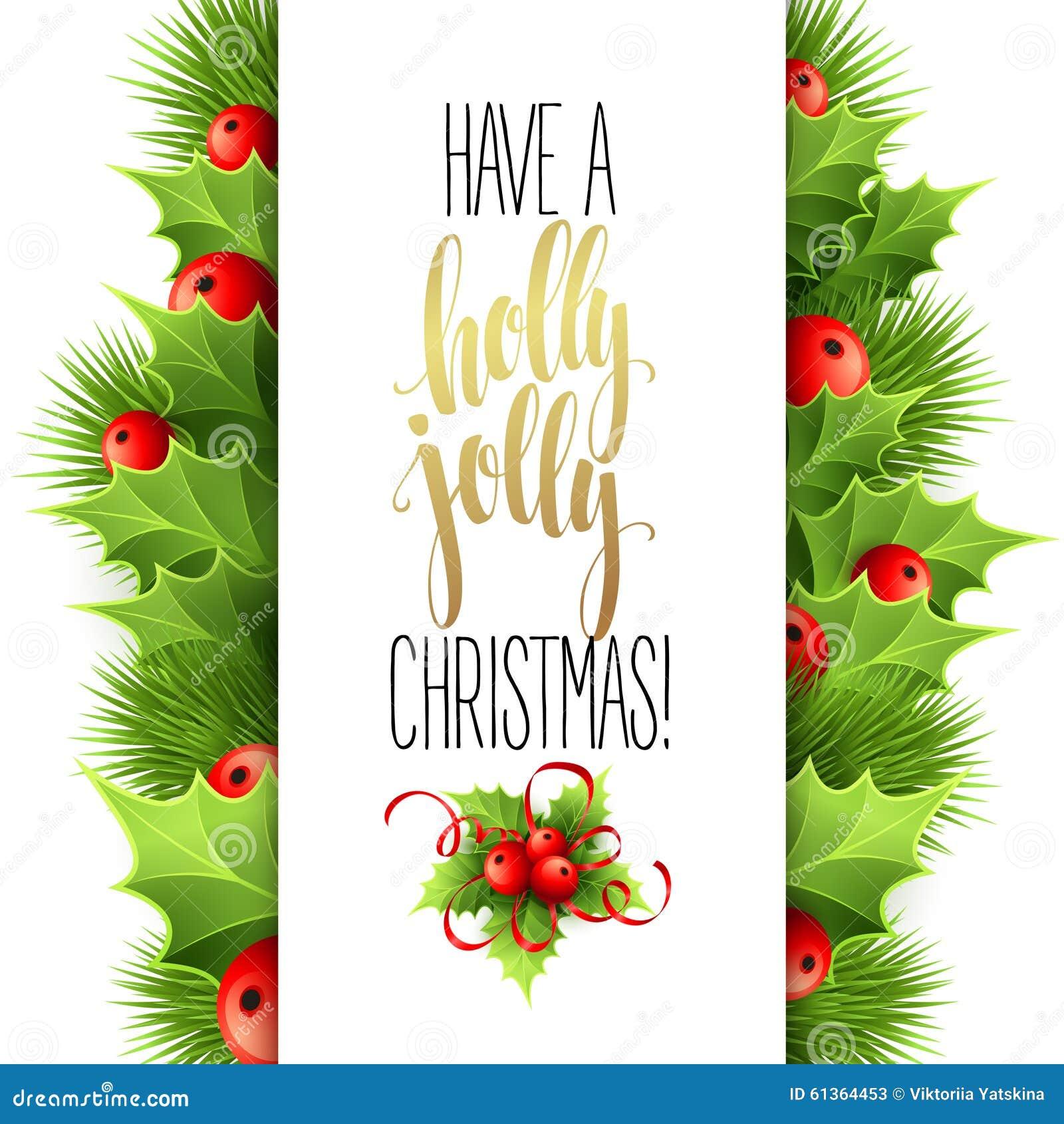 Heb Holly Jolly Christmas Het Van Letters Voorzien Vector Vector ...