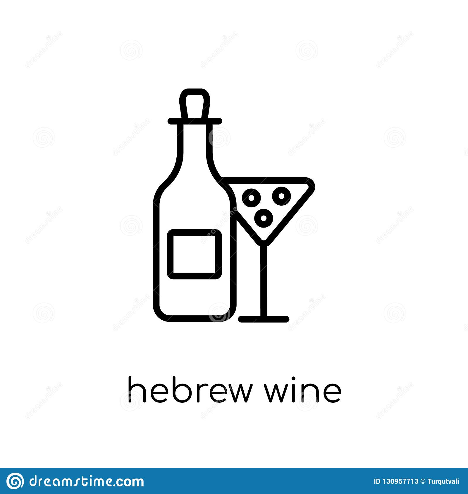 Hebreeuws Wijnpictogram In moderne vlakke lineaire vector Hebreeuwse Wijn i