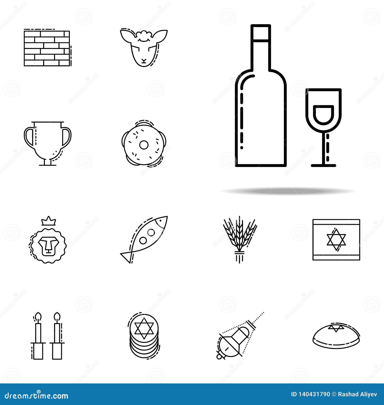 Hebreeuws Wijnpictogram Voor Web wordt geplaatst dat en het mobiele algemene begrip van judaïsmepictogrammen