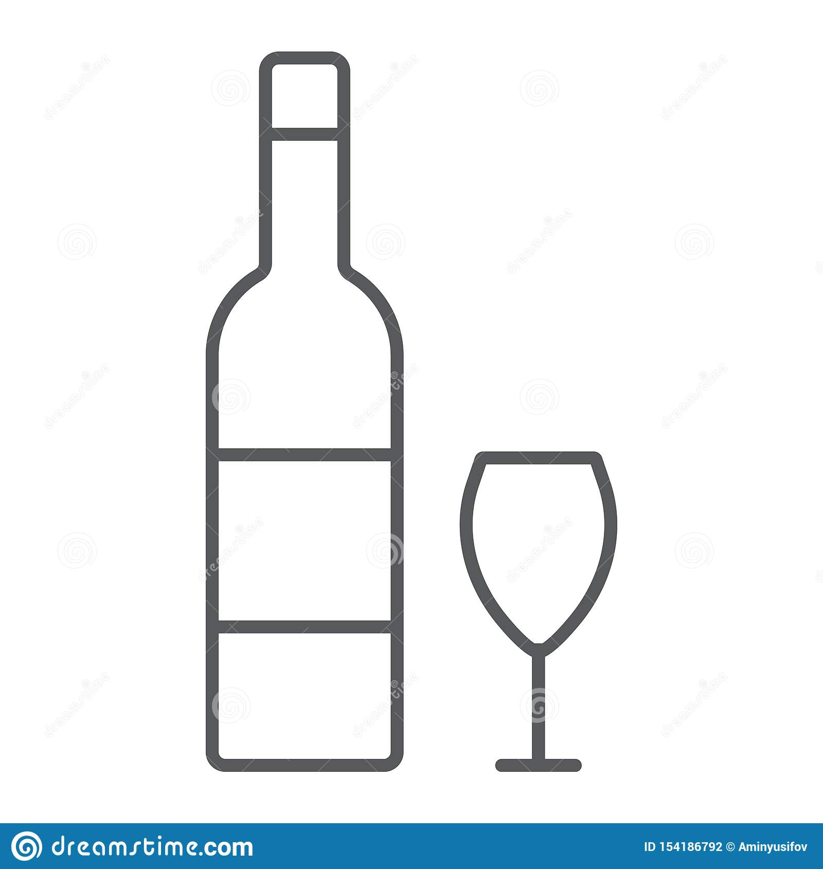 Hebrew wine thin line icon, jewish and drink, bottle and glass sign, vector graphics, a linear pattern on a white