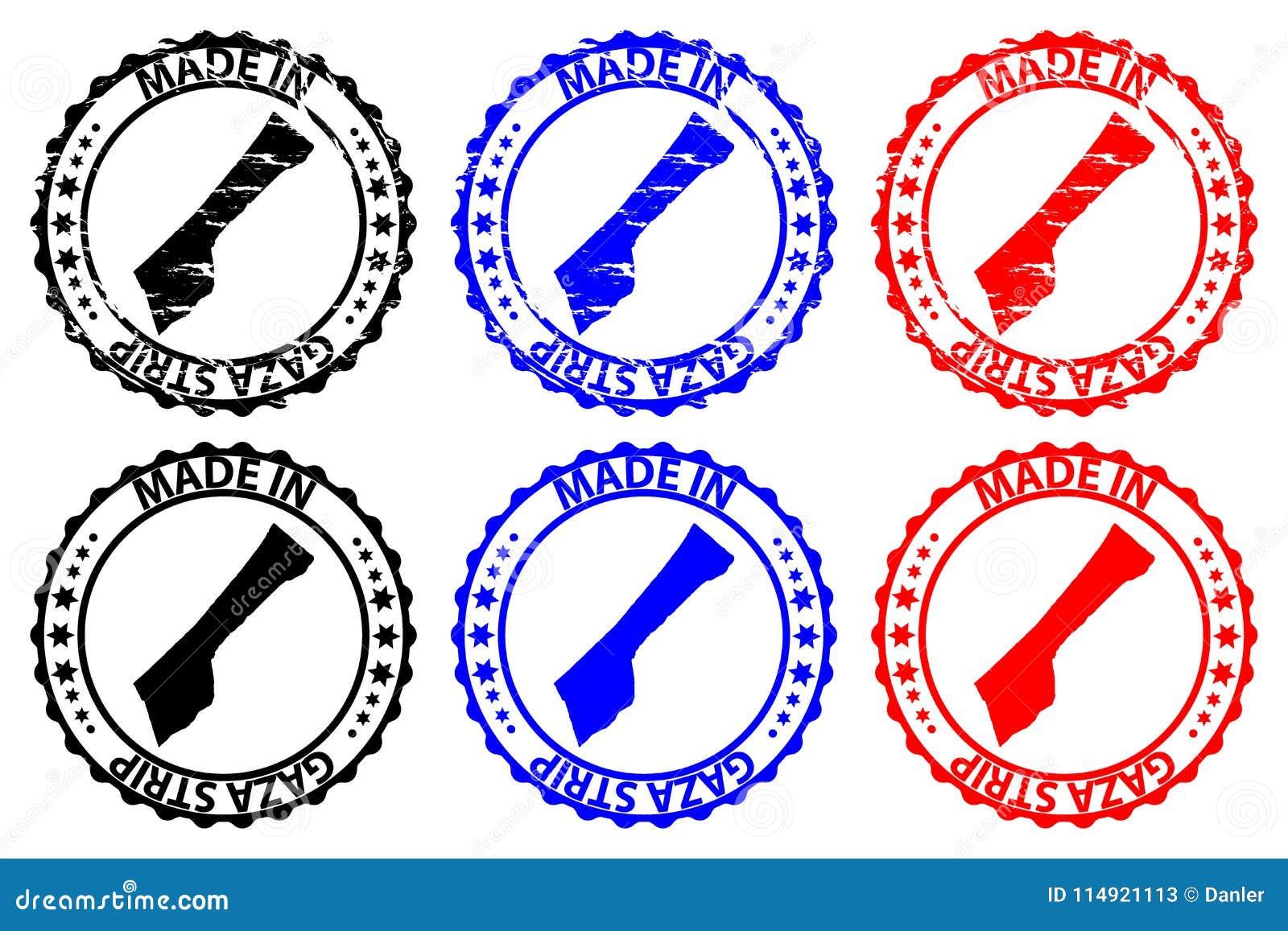 Hecho en sello de goma de la Franja de Gaza