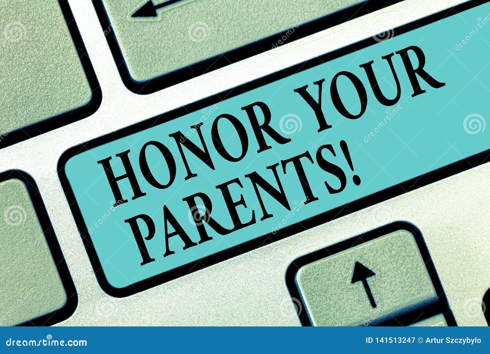Heder för handskrifttexthandstil dina föräldrar Aktning för hög respekt för begreppsbetydelse stor för ditt äldre tangentbord för