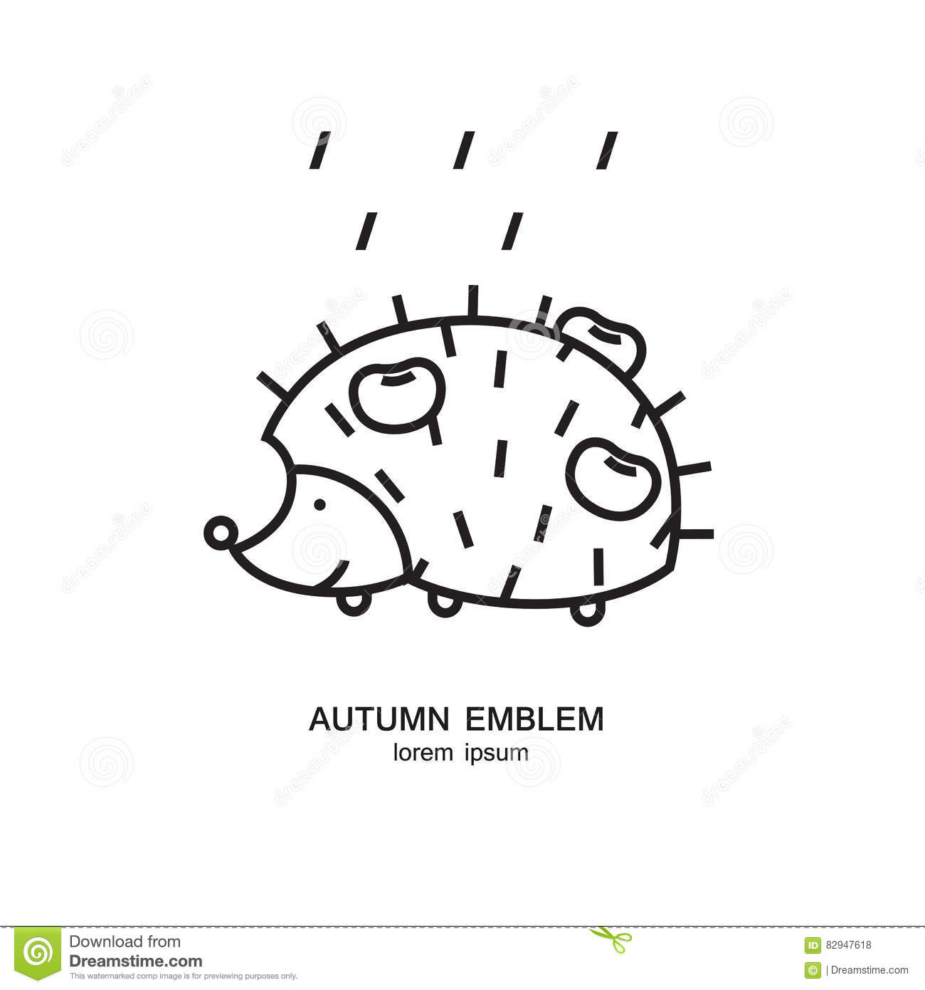 Hedgehog With Apples On The Back And Rain Symbol Made In Trendy Line