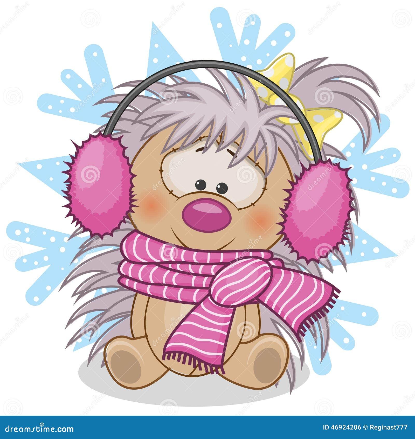 Hedgehog in a fur headphones