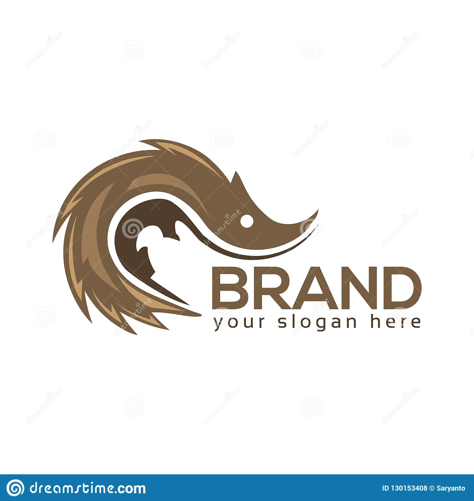 Hedgehog logo template, flat design