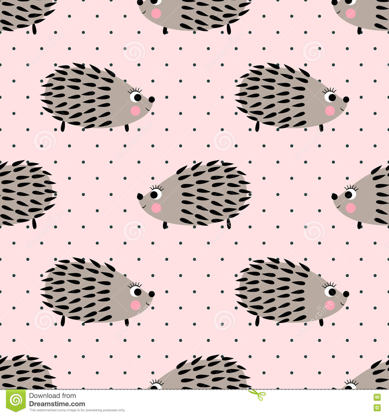 Hedgehog seamless pattern on pink polka dots background. Cute cartoon animal background.