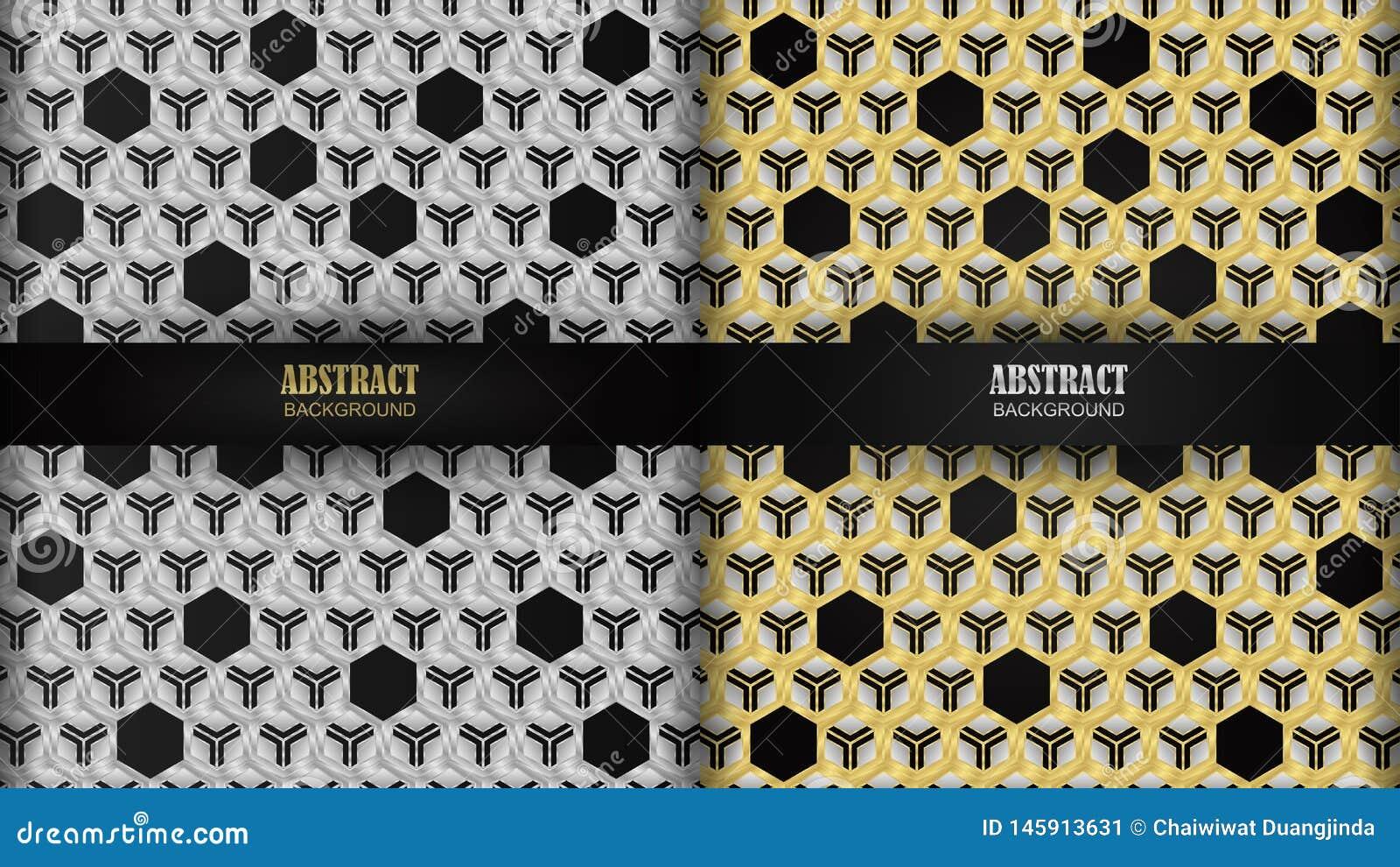 Heeft het Hexagonale patroon à ¹ ‡ zilveren en gouden als achtergrond