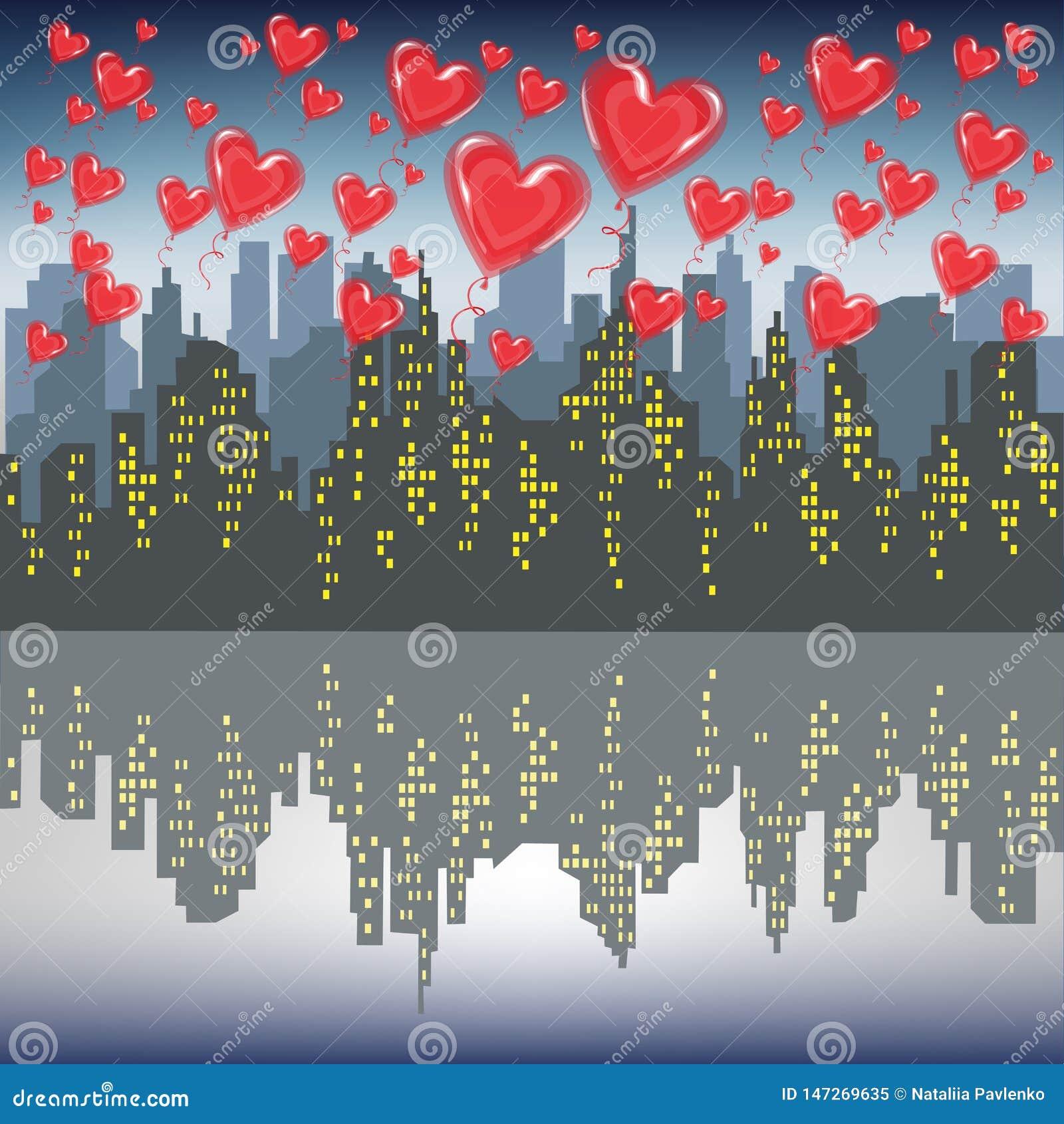 Heel wat rode gelballen vliegen tegen het silhouet van een grote stad Heldere ochtendhemel Minnaars die de Vector van de Valentij