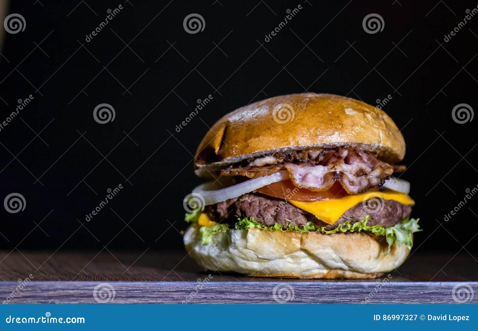 Heerlijk bacon hamburguer vooraanzicht