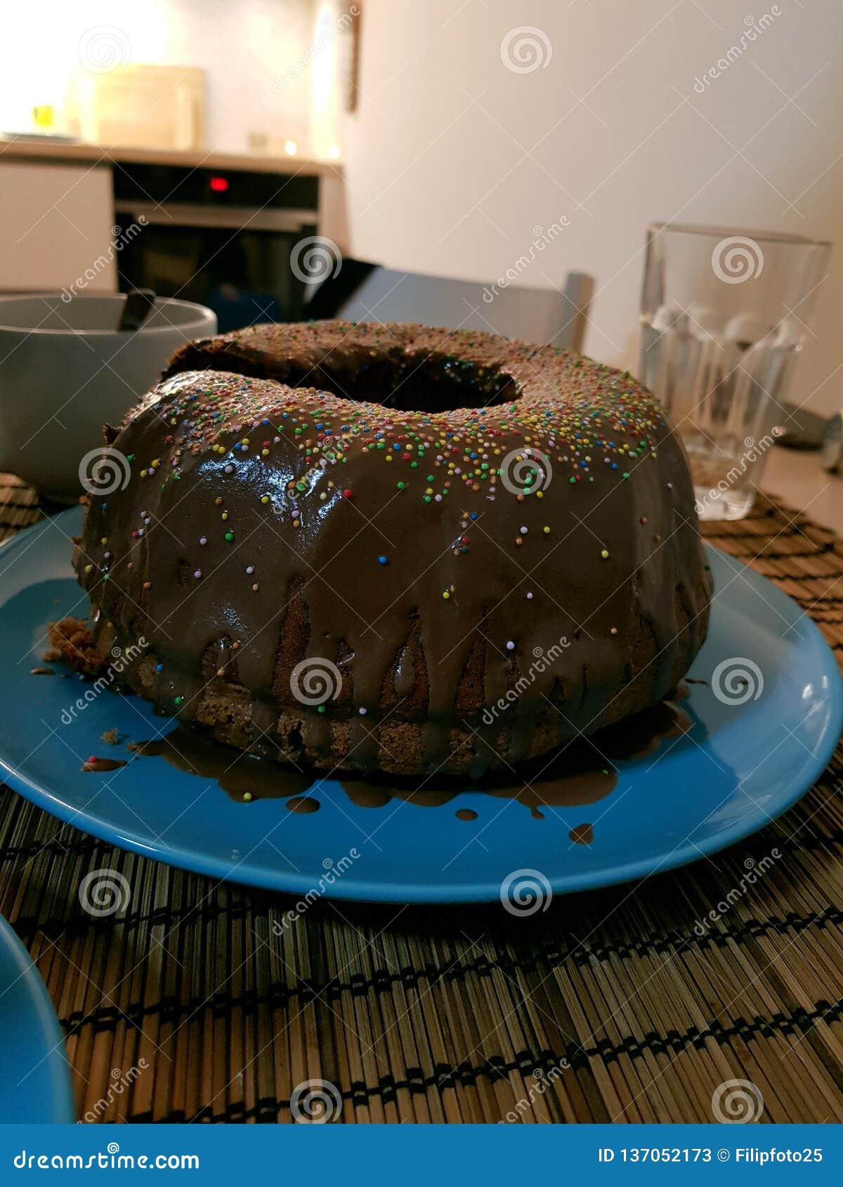 Heerlijk stuk van marmeren cake