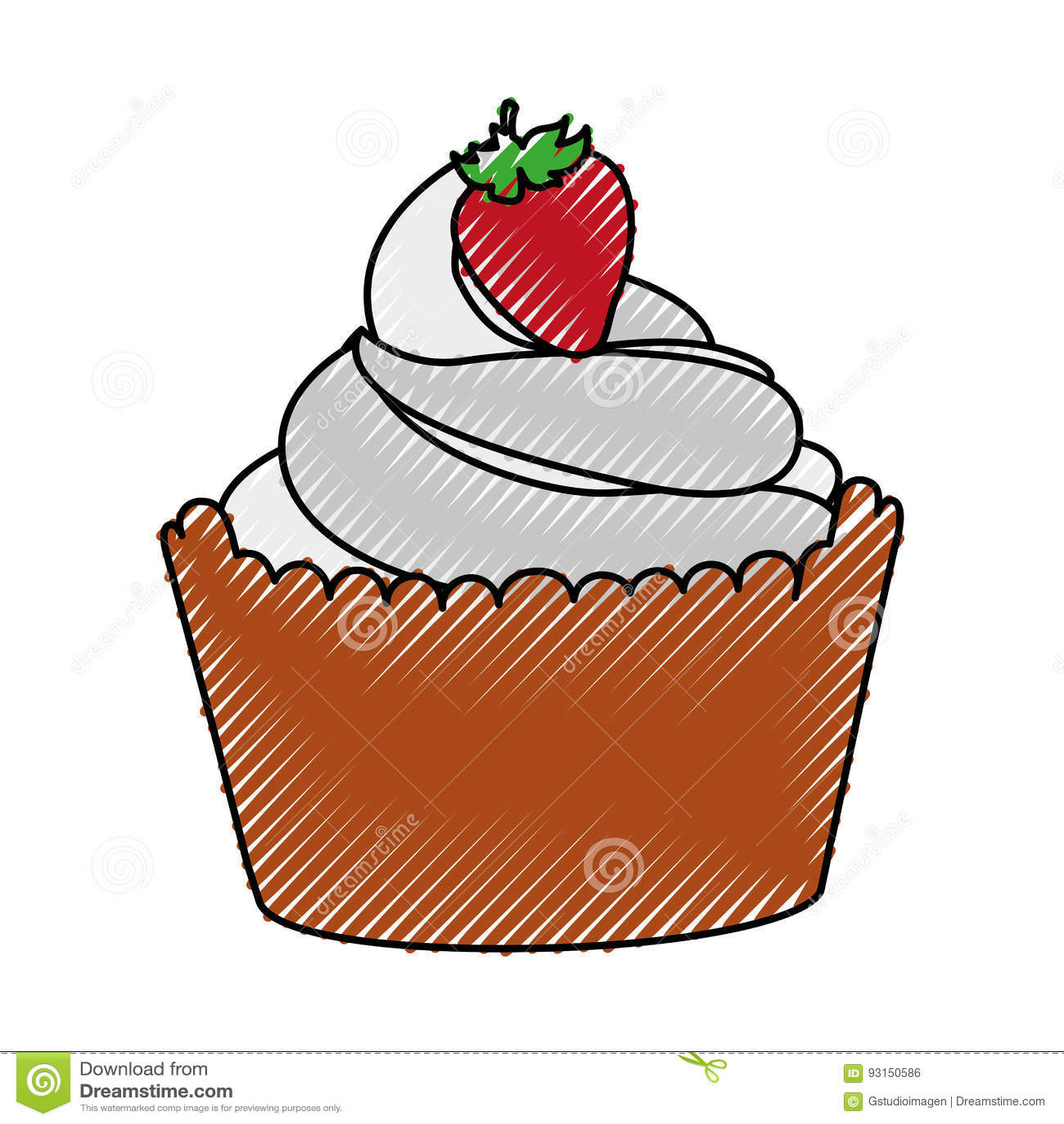 Heerlijke cupcake met aardbei geïsoleerd pictogram