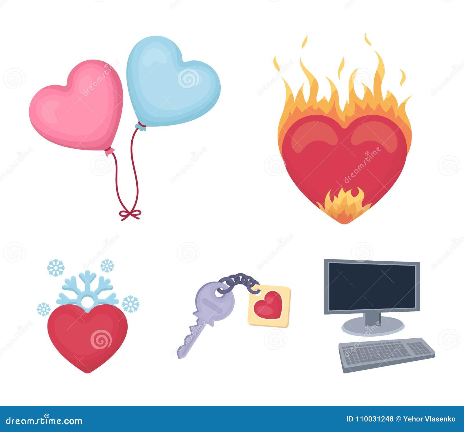 Heet hart, ballons, een sleutel met een charme, een koud hart Romantische vastgestelde inzamelingspictogrammen in het vectorsymbo