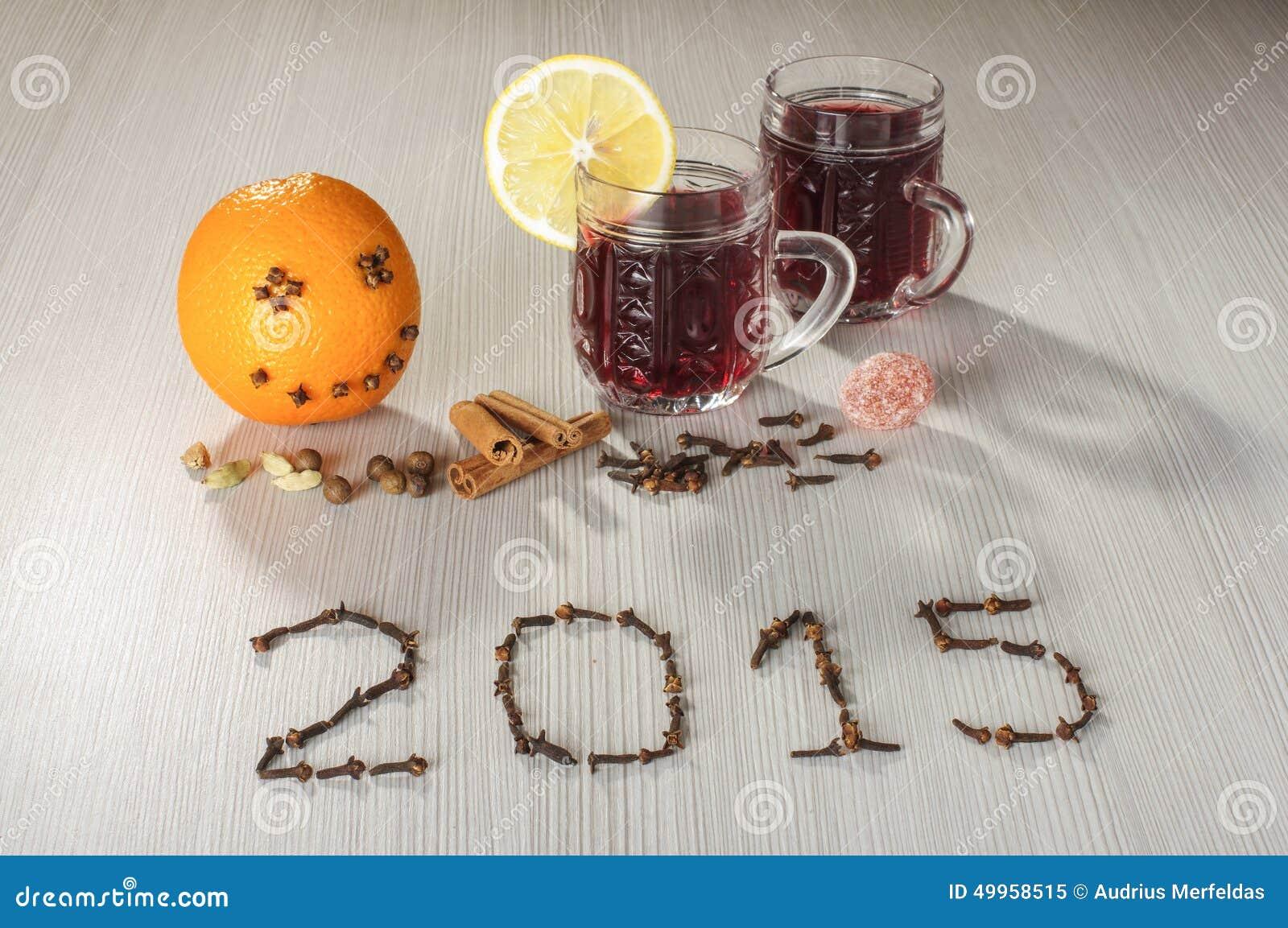 Heiße Wein- Und Guten Rutsch Ins Neue Jahr-Grüße 2015 Stockbild ...