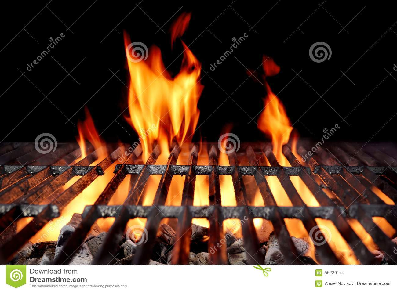 hei er leerer holzkohle bbq grill mit hellen flammen stockfoto bild von grill putzfrau 55220144. Black Bedroom Furniture Sets. Home Design Ideas